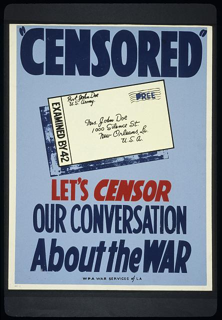"""Censored"" Let's censor our conversation about the war."