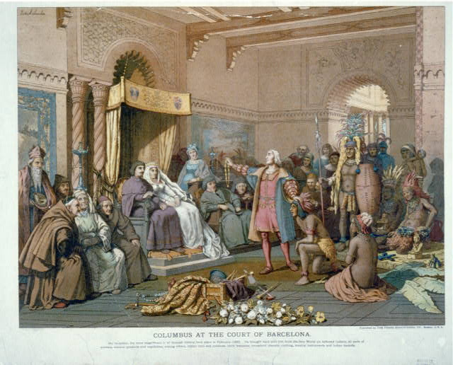 Columbus at the court of Barcelona
