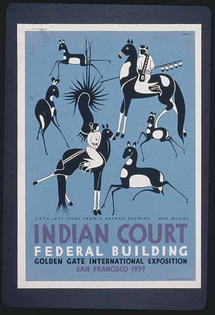 Indian court, Federal Building, Golden Gate International Exposition, San Francisco, 1939 Antelope hunt from a Navaho drawing, New Mexico /