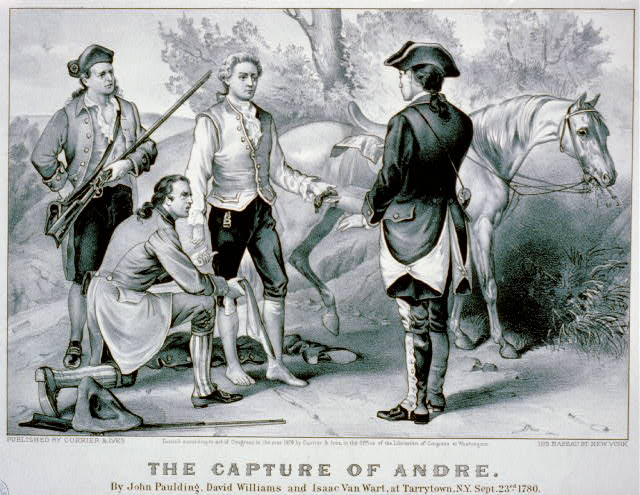 The capture of Andre: By John Paulding, David Williams and Isaac Van Wart, at Tarrytown, N.Y., Sept. 23rd, 1780