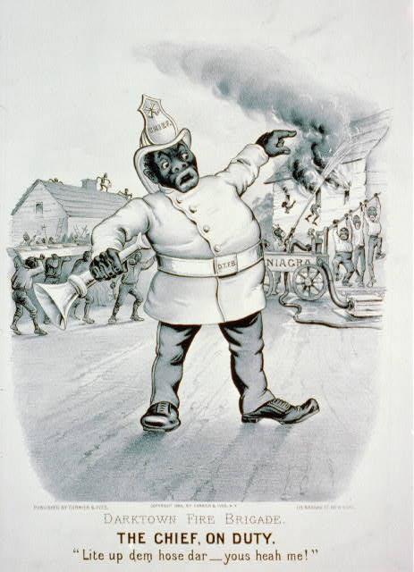 "Darktown fire brigade. The chief, on duty: ""Lite up dem hose dar-yous heah me!"""