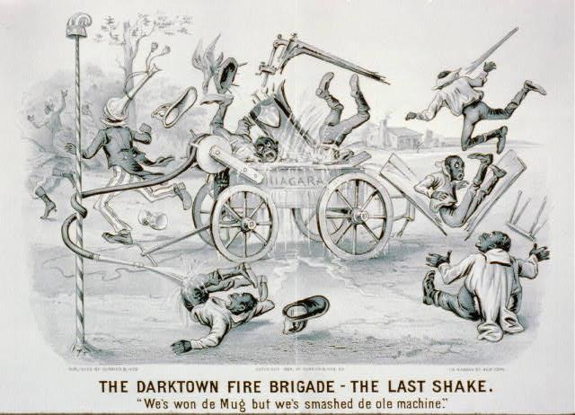 "The darktown fire brigade-the last shake: ""We's won de mug but we's smashed de ole machine."""