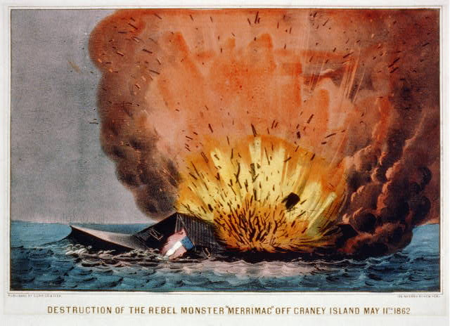 "Destruction of the rebel monster ""Merrimac"" off Craney Island May 11th 1862"