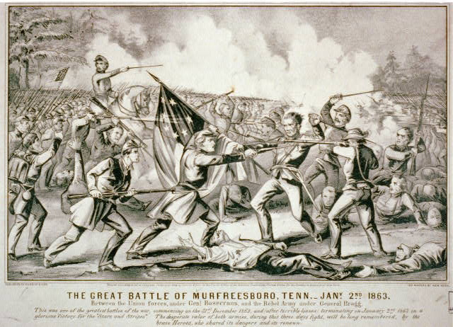 Great Battle of Murfreesboro, Tenn.--Jany, 2nd 1863: between the Union Forces, under Genl. Rosecrans, and the Rebel Army under General Bragg