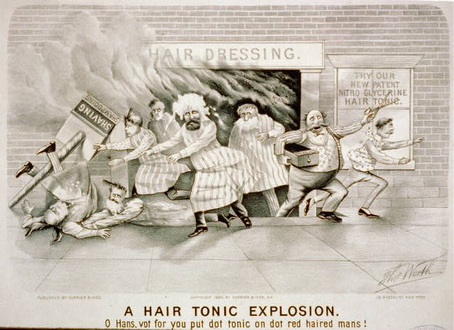 A hair tonic explosion: o Hans, vot for you put dot tonic on dot red haired mans!