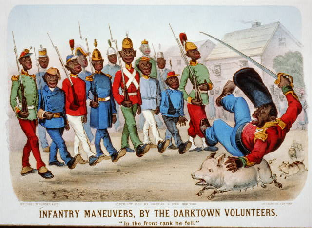 "Infantry maneuvers, by the darktown volunteers: ""in the front rank he fell."""