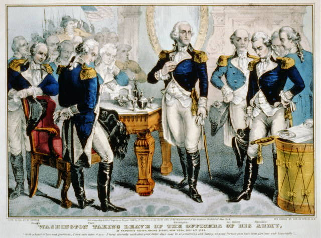 Washington taking leave of the officers of his army: at Francis's Tavern, Broad Street, New York, Decr. 4th. 1783