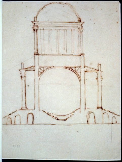 [Monuments, Washington, D.C. Sketch - section of circular structure]