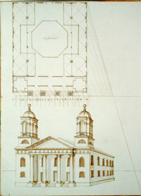 [Meeting house (Hollis Street, Boston, Mass.). Plan and perspective]