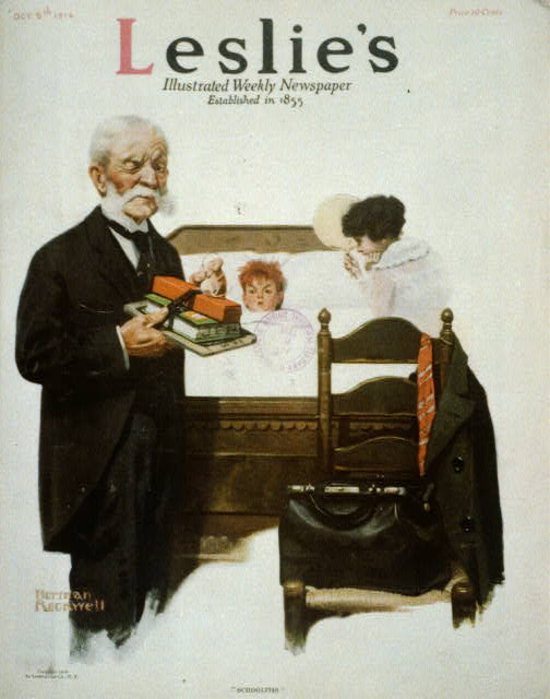 """""""Schoolitis"""" [small boy in bed; elderly doctor holds school books and winks at viewer]"""
