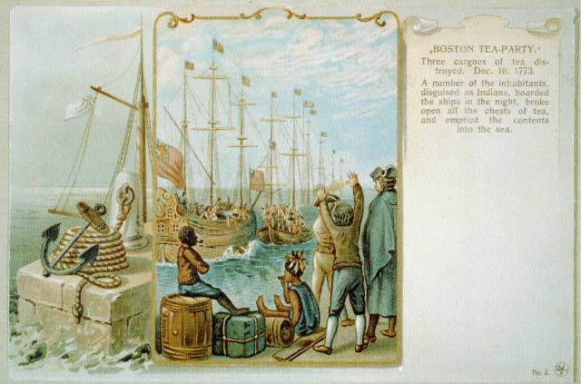"""Boston tea-party."" Three cargoes of tea destroyed. Dec. 16, 1773"