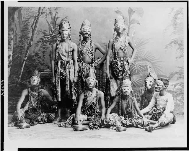 "Masked men of the theater acting in ""Topéing,"" Java, Indonesia"