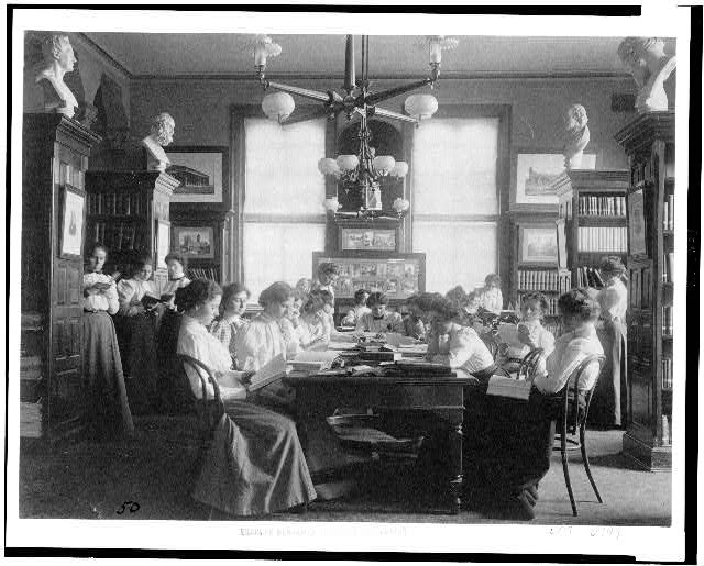 [Group of young women reading in library of normal school, Washington, D.C.]