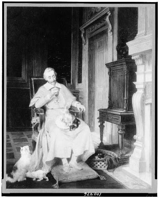 [Cardinal Richelieu, full-length portrait, seated, facing front, with three kittens on his lap]