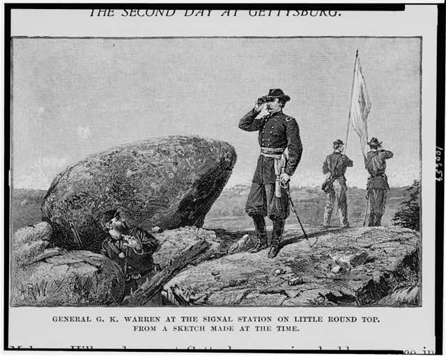 General G.K. Warren at the signal station on Little Round Top