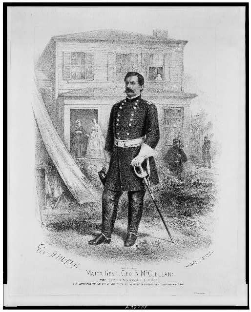 Major Gen'l. Geo. B. McClellan, wife, mother (Mrs. Gen. Marcy), child, nurse, headquarters at Camp Seminary, near Alexandria Va., taken at the moment of embarking for Fortress Monroe, April 3, 1862