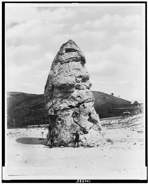 [Liberty Cap at Mammoth Hot Springs, Yellowstone National Park, Wyoming, reached by the Northern Pacific Railway via Gardiner Gateway]