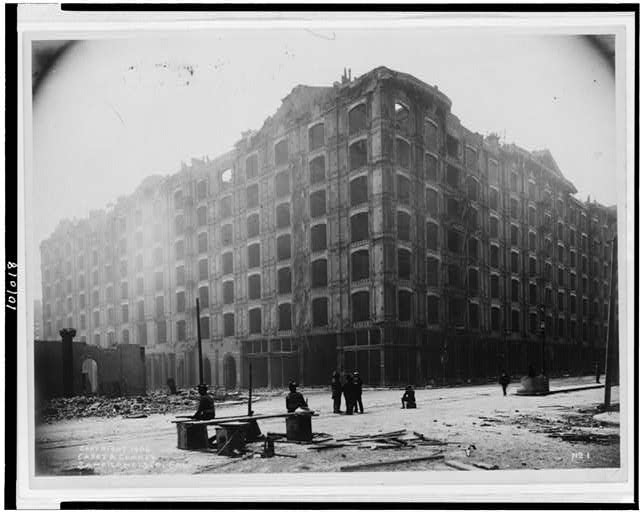 [View of building after earthquake and fire, San Francisco, California]