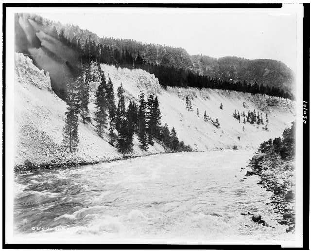 [Yellowstone River at the Fishing Pool, Yellowstone National Park, reached by the Northern Pacific Railway via Gardiner Gateway]