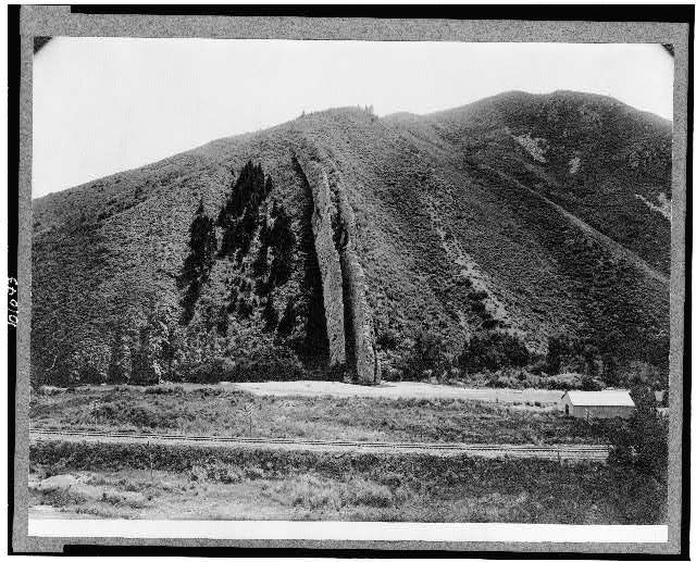 [Hill with vertical rocky outcropping, Devil's Slide, Weber Canyon, Utah]