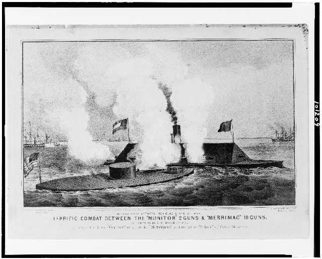 "Terrific combat between the ""Monitor"" 2 guns & ""Merrimac"" 10 guns The first fight between iron clad ships of war, in Hampton Roads, March 9th 1862, in which the little ""Monitor"" whipped the ""Merrimac"" and the whole "" school"" of Rebel steamers."