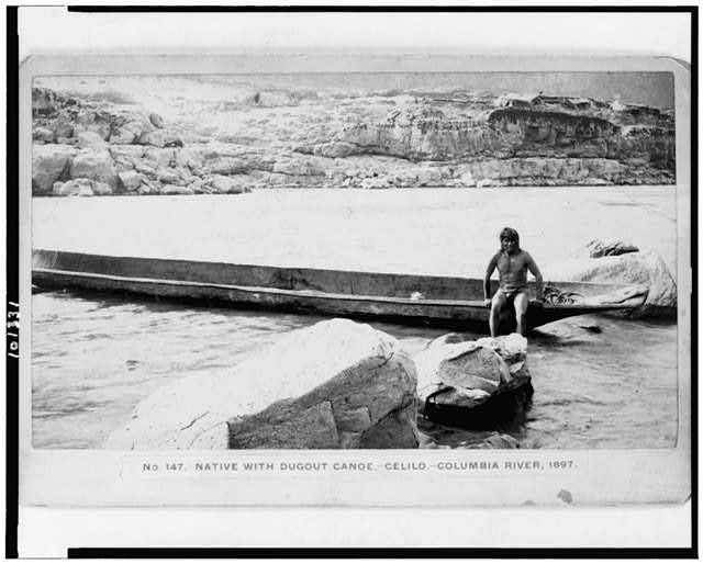 Native with dugout canoe-Celilo-Columbia River, 1897