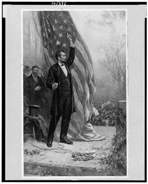 [Abraham Lincoln, standing, full-length, facing right, holding rope of flag(?), arm upraised]