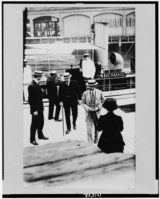 [J.P. Morgan, Jr., and his yacht, which he uses daily to carry him to and from his office and his summer home in Greenwich, Connecticut]