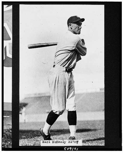 [Earl McNeely, of the Washington Nationals baseball club, swinging bat]