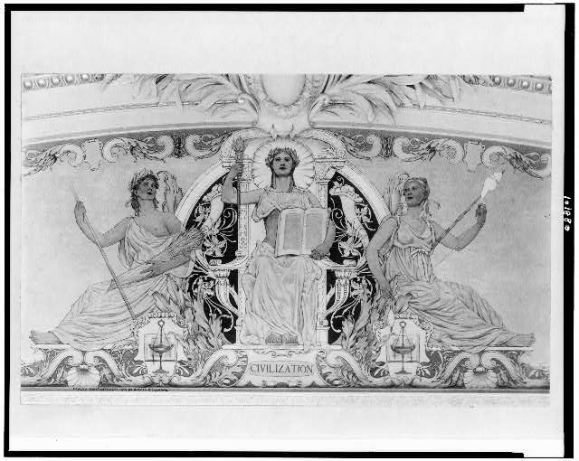 "[Mural ""Civilization,"" by George W. Maynard, in South Pavilion of the Jefferson Building, Library of Congress]"