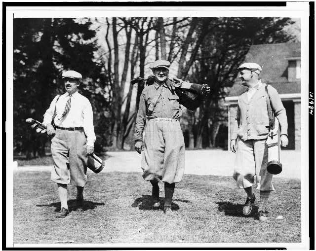 Congressmen snapped on the golf links at Chevy Chase Club today. Left to right: Rep. Herbert W. Taylor of N.J., Rep. Albert H. Vestal of Indiana, the Republican Whip of the House, and Rep. Wm. R. Coyle of Pa.