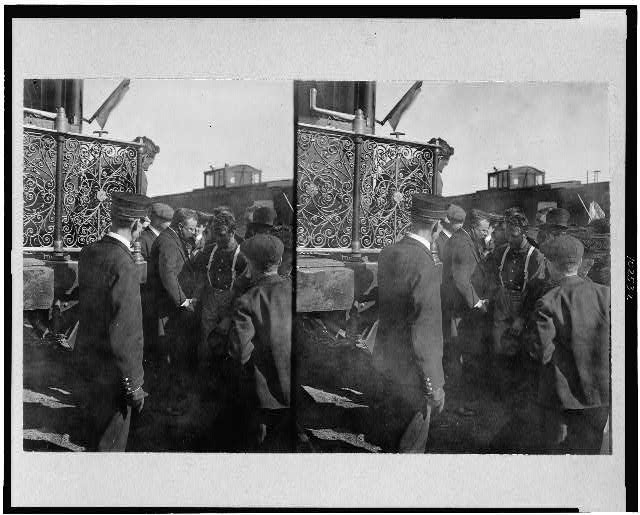 The President and the working man--Pres. Roosevelt greeting a train man at Texline, Texas