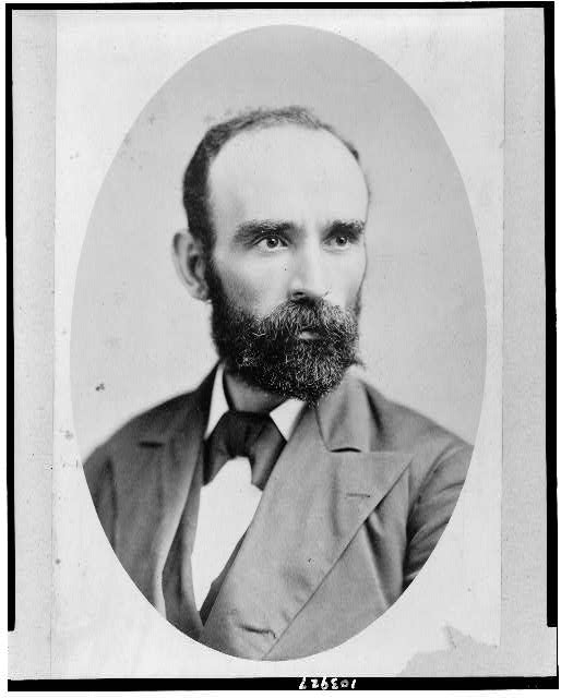 [Michael Davitt, head-and-shoulders portrait, in oval, facing right]