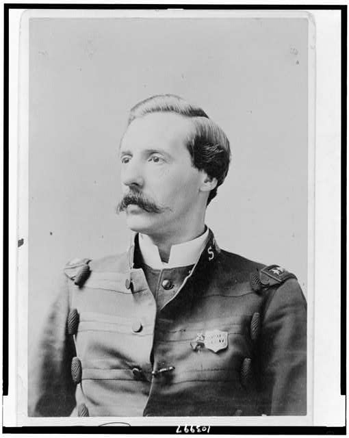 [Ballington Booth, head-and-shoulders portrait, facing left, wearing Salvation Army uniform]