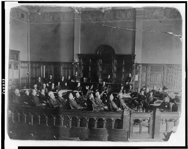 [Scene in courtroom, Morrison Will case at Richmond, Indiana, in 1895. The longest jury trial in the U.S. up to that time. Began Jan. 2, ended May 10]
