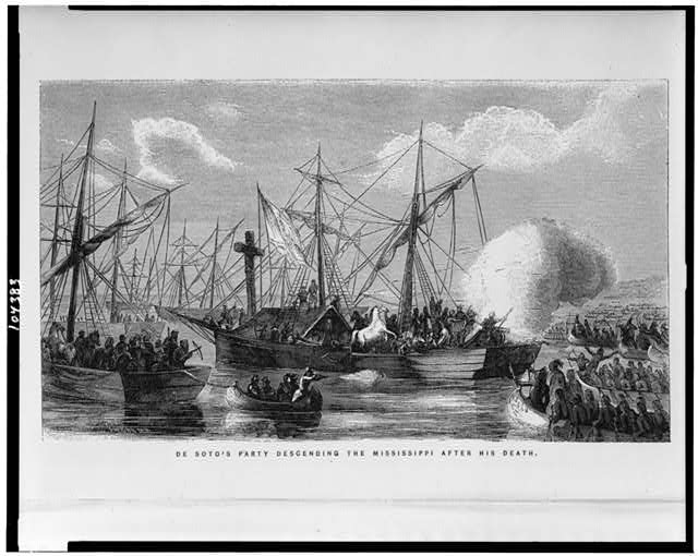 De Soto's party descending the Mississippi after his death