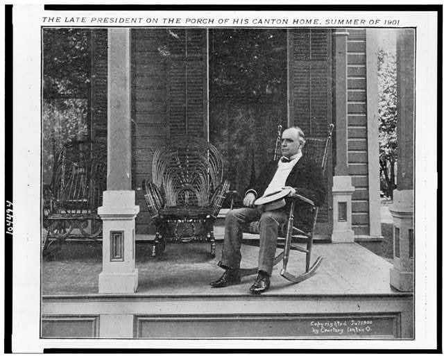 The late president on the porch of his Canton home, summer of [i.e., 1900]
