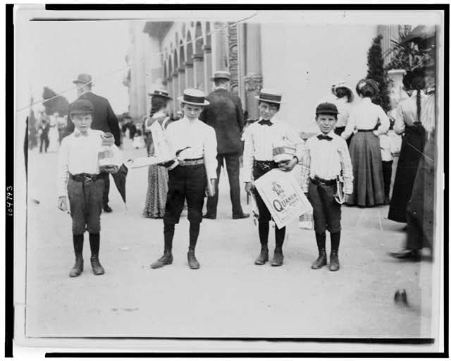[Four boys posed at World's Columbian Exposition, Chicago]