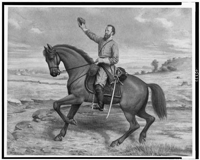 [Thomas Jonathan Jackson, full-length portrait, on horseback, facing left, holding up hat in his right hand]