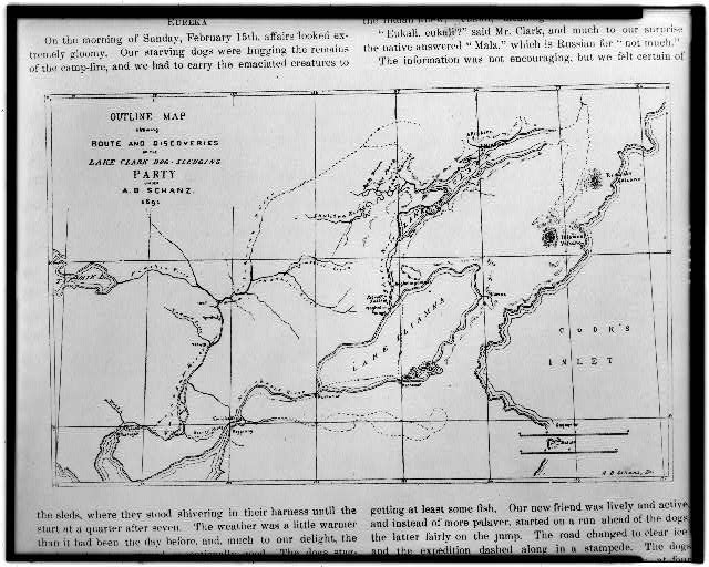 Outline map showing route and discoveries of the Lake Clark dog-sledging party under A.B. Schanz, 1891