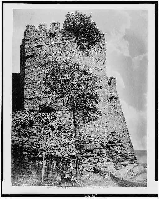 Constantinople. Tower of Marmora - old walls