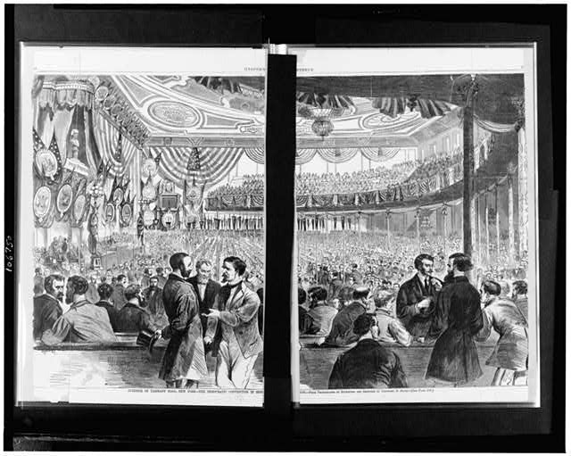 Interior of Tammany Hall, New York--the Democratic convention in session