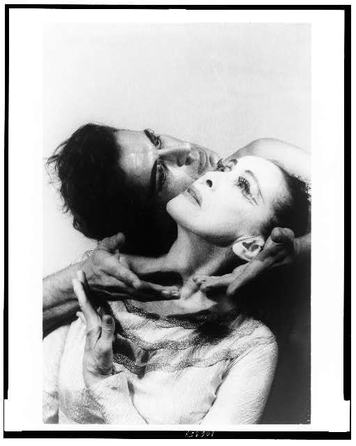 """[Portrait of Martha Graham and Bertram Ross, faces touching, in """"Visionary recital""""]"""