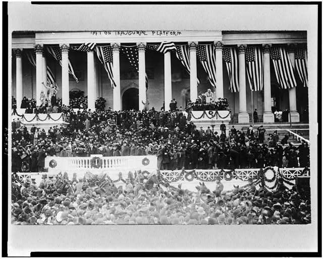 Taft on inaugural platform, after inauguration in Senate chamber, March 4, 1909