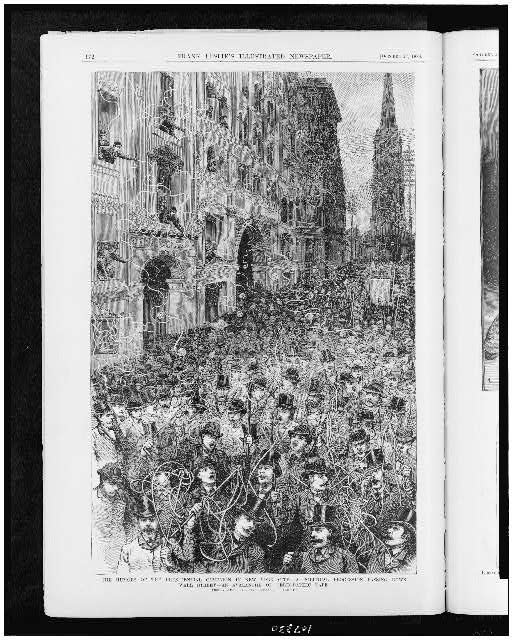 The Humors of the presidential campaign in New York City. A political procession passing down Wall Street--an avalanche of telegraphic tape