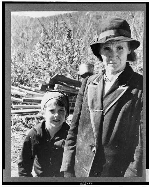 Corbin Hollow. Shenandoah National Park, Virginia. Dicee Corbin with one of her children