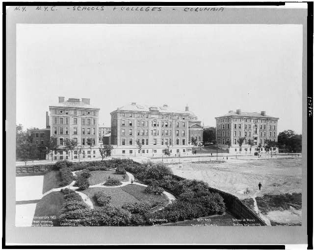 Columbia University 1907.  View from west showing technological buildings