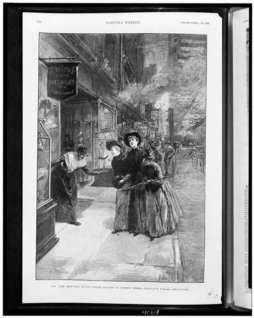 New York shop-girls buying Easter bonnets on Division Street