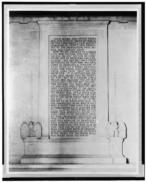 [Interior of the Lincoln Memorial, showing inscription of the Gettysburg Address]