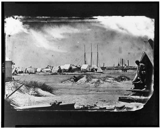 Morris Island, South Carolina.  July or August 1863.  Unidentified camp